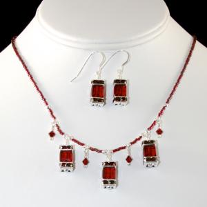 The Frances In Red/Sterling Silver Necklace & Earring Set