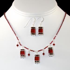 The Frances in Red Necklace & Earring Set