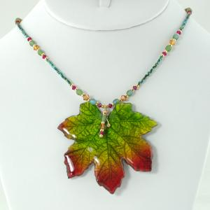 Falling Leaves Necklace - Green/Red