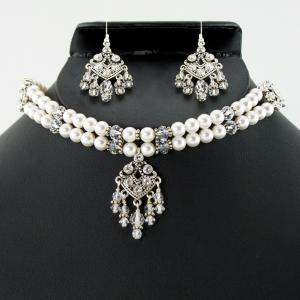 Swarovski Choker With Drop Necklace & Earring Set