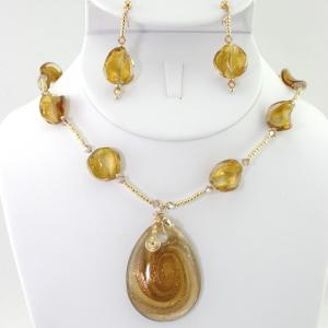 The Golden Spiral Necklace & Earring Set