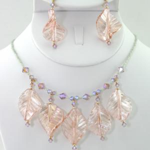 Sunlight Leaves Necklace & Earring Set