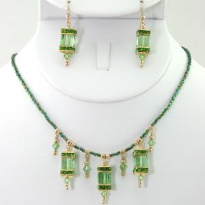 The Frances in Green Necklace & Earring Set