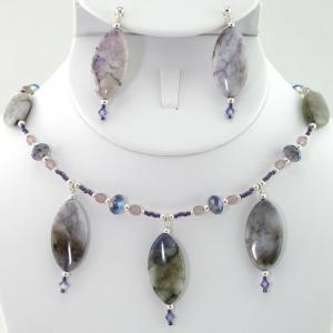 The African Violet  Necklace & Earring Set