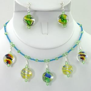 Shooting Marbles Necklace & Earring Set