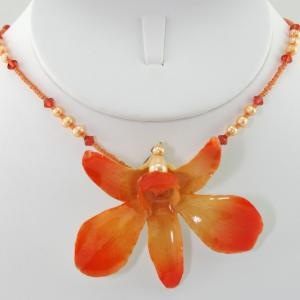 The Eternal Orchid Necklace - Orange