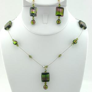 Black Lampwork Necklace & Earring Set