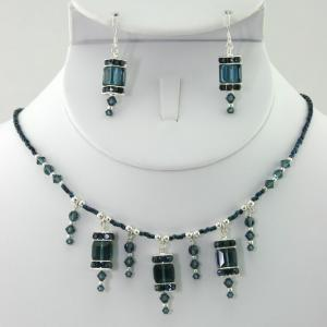 The  Frances In Blue/Sterling Silver Necklace & Earring Set