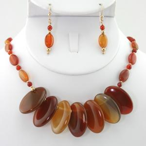 Red Agate Fan Necklace & Earring Set