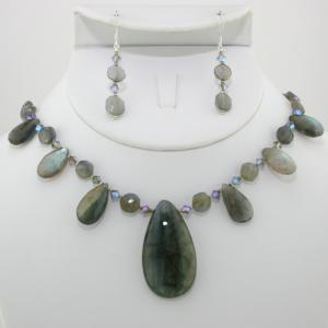 Labradorite Teardrop Necklace & Earring Set