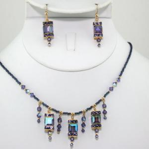 The Frances In Amethyst/Gold Necklace & Earring Set