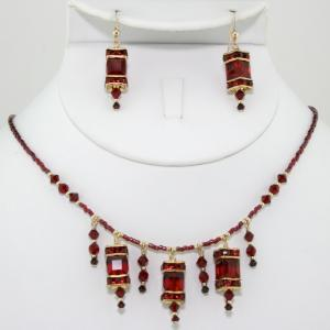 The Frances In Red/Gold Necklace & Earring Set