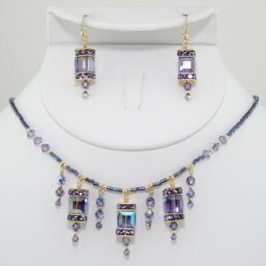 The Frances In Light Purple/Gold Necklace & Earring Set
